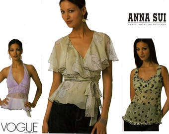 Vogue American Designer 2850 ANNA SUI Romantic Ruffled Tops Halter Top Summer Blouse Vintage Sewing Pattern Size 12 14 16 UNCUT Factory Fold