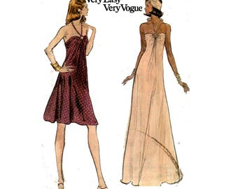 Vogue 8724 Womens Halter Maxi Disco Dress Prom Formal Special Occasion Gown 1970s Vintage sewing pattern Size 14 Bust 36 inches