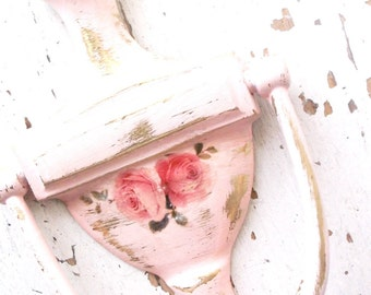 Vintage Door knocker. French Shabby Chic Pink. Paris Apt. Decor. Brass Architect Hardware. Painted altered