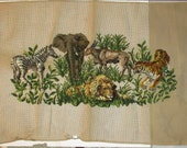 Large Jungle Animals Needlepoint Preworked Canvas Petit Point Faces