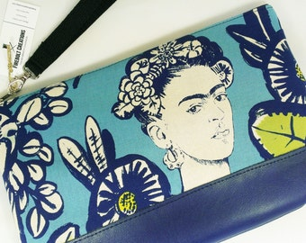 Frida Kahlo Purse Artist Clutch Mexico Handbag Art Gift woman girl stocking stuffer Mexican Wedding feminist day of the dead navy blue Vegan