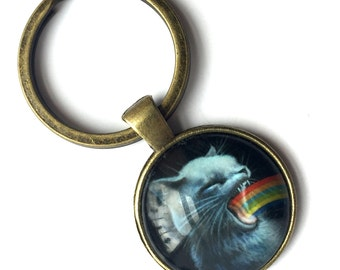 Holiday Special - Keychain - Rainbow Puke Kitty - special edition printed cameo key chain by Mab Graves