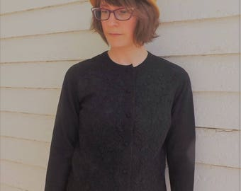 Black Lace Sweater Timwear Paris France Cardigan XS