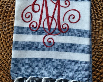 Elegant Scroll Monogram - FOUTA - Kay Dee - Cotton 20x30 Kitchen Hand Towel
