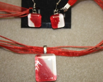 Peppermint Red & White watercolor painting Pendant and Earring set glass tile OOAK necklace set