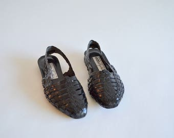 Vintage back WOVEN leather flats / 8