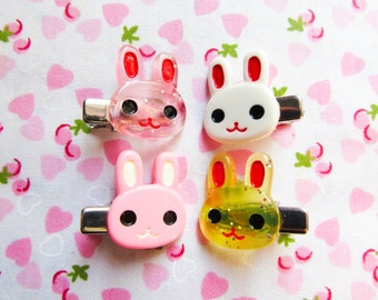 Kawaii Bunny Hair Clips, Cute Hair Clips, Kawaii, Bunny, Rabbit, Sweet Lolita, Mini Hair Clips / Hairclips, Teen / Girls Gift Idea