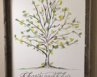 "Large (Charity and Chris) Sycamore Thumbprint Tree Guest Book for up to 225 guests 20""x30"" Watercolor"