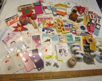 vintage notions lot - destash lot - lots of basics - sewing kit supplies