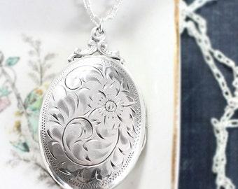 Birks Sterling Silver Locket Necklace, Vintage Flower Engraved Large Oval Photo Pendant - Forget Me Not