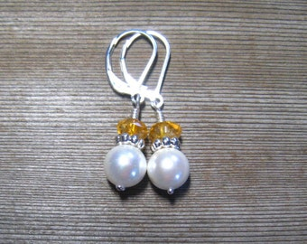 Citrine and Pearl Earrings, Sterling Silver, White Pearl Drop Earrings, Birthstone Jewelry, 10 mm Pearls, Multi Stone, Bridal Earrings