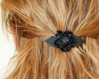 Black flower small french barrette, leather flower, hair clip, boho, unique gift for her,