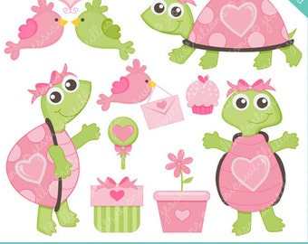 Happy Heart Turtles Cute Digital Clipart for Commercial or Personal Use, Valentine Clipart, Cute Turtle Graphics