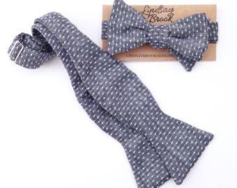 Blue Bow ties for Men, Polka Dot Bow Ties, Denim Bowties, Self Tie Bow Ties, Men's Bow ties, Men's bowties, Wedding Bow Ties, Groomsmen Ties