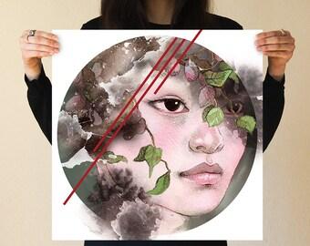 Circle Plants Japanese Girl Print by JUURI Beautiful Serene Woman Girl Face Surreal Circle Round Asian Botanical Floral Modern Geometric