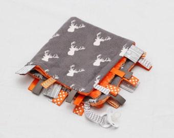 Baby Ribbon Tag Blanket - Minky Binky Blankie - Grey Deer Head with Orange