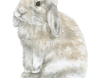 Gray Lop Bunny Rabbit - Watercolor Painting - Giclee Print - 11 x 14 - Nursery Art Girls Room