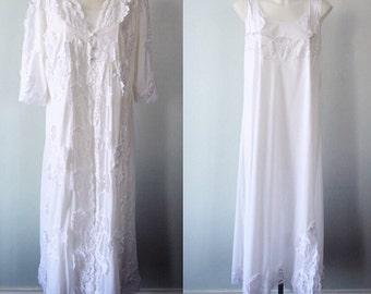 Vintage White Peignoir Set, White Peignoir, 1970s Peignoir, Wedding, Bridal, Romantic, Peignoir Set