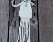 Deerskin neck pouch , White necklace bag . Ready to ship medicine bag , White deerskin medicine bag with fringe