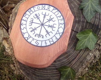 VEGVISIR and runes wood plaque