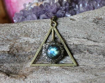 Pyrite & Labradorite Necklace - Pyramid Jewelry - Wiccan Pendant - Triangle Necklace - Labradorite Jewelry - Boho Jewelry Bohemian Necklace
