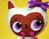 Kitty white cat felt handmade ooak doll decoration KATORI