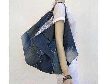 Denim bag large tote oversized handbag crazy shopper bag weekender upcycled jeans