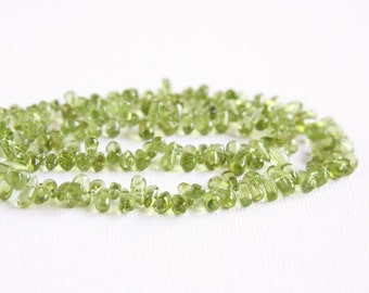 Peridot Small Smooth Drop Beads 16 inch strand 7-9mm long, 3.5-4mm wide Teardrop Top Drilled Green Light Green Spring Green Natural Stone