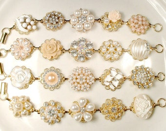 OOAK Ivory Champagne Pearl Rhinestone Gold Bridesmaid Bracelet Set 4 5 6 7 8 9, Vintage Wedding Earring Bracelets Bridal Jewelry Rustic Chic