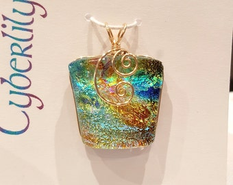 Orange Blue Gold Dichroic Fused Glass Pendant with Gold Filled Wire Wrap - Cyberlily