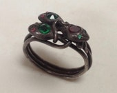 Silver Three Snakes Ring – Coiled Snake 1970s Boho Jewelry