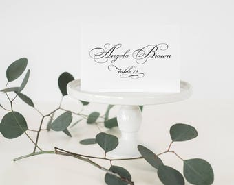 Formal Place Cards / Black and White Place Cards / Classic Place Cards /  Formal Wedding Placecards / Once Charmed Formal Placecard Set