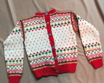 Vintage 50's Child's Sweater, Nordic Christmas Cardigan Ski Sweater, Hand Knit Wool, Cream, Red, Green, Small, SALE