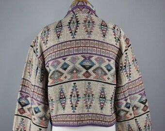 Women's Navajo Tribal Design Tapestry Jacket, Vintage 90s, Spring Jacket, Southwest, Size Large