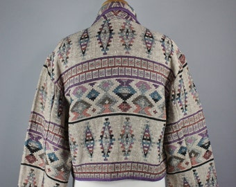 FREE SHIPPING Women's Navajo Tribal Design Tapestry Jacket, Vintage 90s, Spring Jacket, Southwest, Size Large