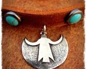 ANGEL shield CHOKER Protection jewelry Leather collar Turquoise Cowgirl Southwestern Necklace Studded Choker Boho Spiritual jewelry GPyoga