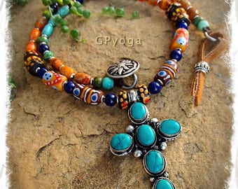 Boho CROSS Necklace TURQUOISE Cross necklace gemstone Statement NECKLACE Tribal necklace Gypsy Hippie Cowgirl Spiritual Christian GPyoga
