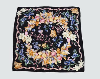 Vintage 90s Silk Square ECHO Scarf Seashell Floral Print Black Pink Yellow Purple