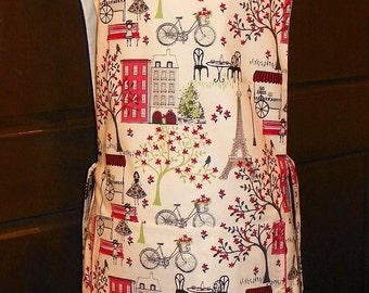 Kitchen Cobbler Lined Apron Smock Red Carts in Paris Handmade for Kitchen Cooking Craft Activities Excellent Clothes Protector