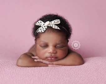 Bokeh Dot - black white ivory polka dot ribbon simple bow headband