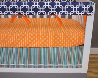 Baby Boy Crib Bedding Rail Guard, Bumperless Crib Set, Aqua, Orange, Navy, Sheet, Crib Skirt, Chain Link Arrows Stripes, Navy and Orange