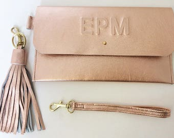 Personalised Leather clutch + Wristlet & Key Tassel Mother's Day Gift Minimal Rose Gold Leather Wedding Bridesmaid Evening Bag Bridal Gift