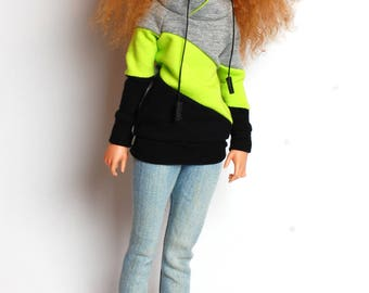 gray/black/neon lime green stipes sweatshirt for FR16 Tonner Tyler minifee MSD and other 1/4scale