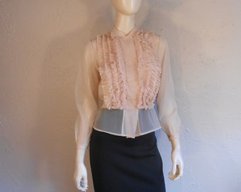 She Ruffled Her Feathers - Vintage 1950s Pale Pink Sheer Nylon Ruffle Blouse - 6