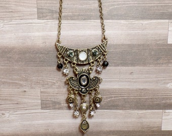 Bronze Ornate Crescent Necklace - Bohemian Necklace - Goddess Necklace - Antique Bronze - Belly Dancing - Victorian Style