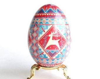 Goose egg ornament Reindeer Blue and Red Pysanka Ukrainian Easter egg hand painted egg gift idea for mom dad ship this gift to parents