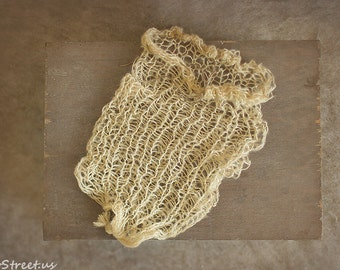 Newborn Sack, Tan Cocoon, Baby Wrap, Newborn Props, Baby Boy Girl Wrap, Bag, RTS, Knit Wrap, Knit Cocoon, RTS, Natural Props, Mohair Sack