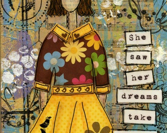 Mixed Media Collage Canvas - Serendipity Girl Art - She saw her dreams take flight