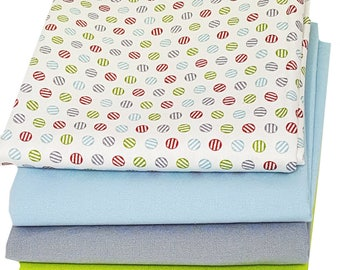 Bundle of 4 in Neutral Dots with Gray, Blue and Lime Bella Solids, by Moda