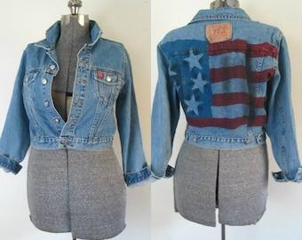 American Flag Denim Jacket Grunge Vintage